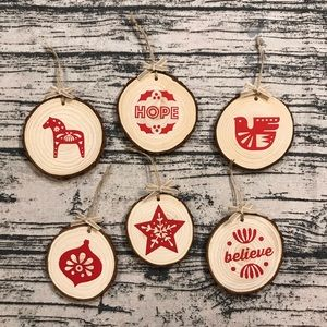 Rustic Wood Christmas Ornament Set